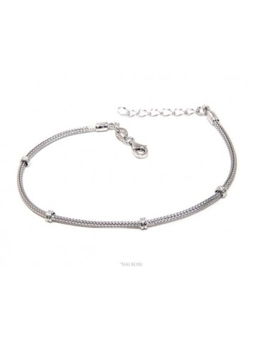 NALBORI fox tail bracelet, 925 silver cord with rondelle nuggets for men and women, 16.5 - 20.00
