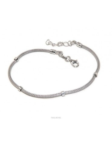 NALBORI fox tail bracelet 925 silver cord with smooth washers for men and women 16.5 - 20.00