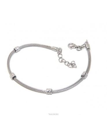 NALBORI bracciale fox tail cavetto argento 925 granelli pepite uomo e donna 16,5 - 20,00