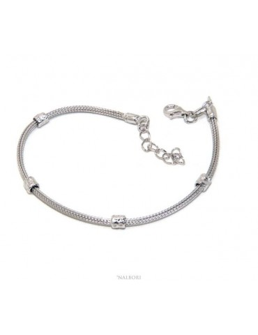 NALBORI fox tail bracelet, 925 silver cord, nuggets for men and women, 16.5 - 20.00