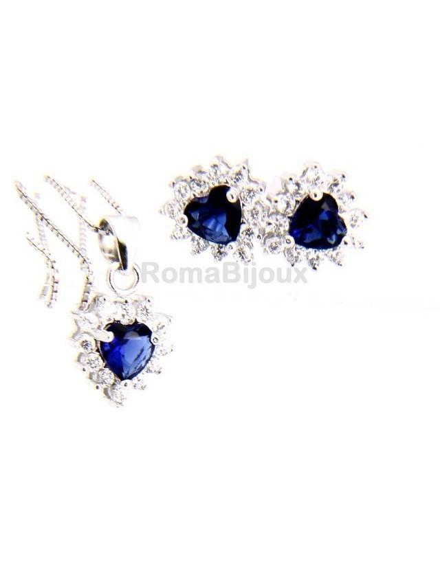 Parure argento 925 collana ciondolo orecchini donna heart zirconi a cuore zaffiro blu