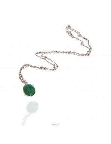NALBORI Collana Rosario uomo donna Argento 925 con medaglia smaltata madonna miracolosa verde mela