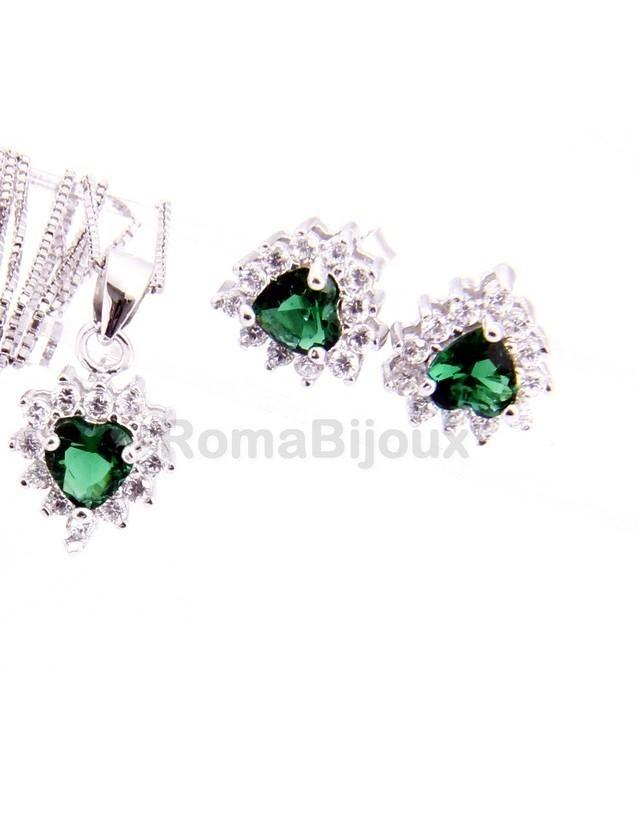 Parure argento 925 collana ciondolo orecchini donna heart zirconi a cuore verde emerald