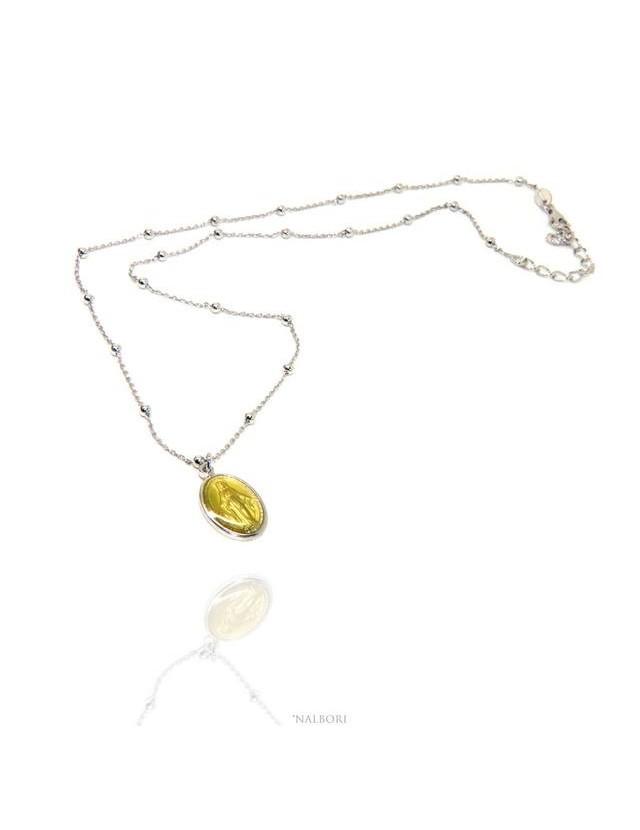 Collana a palline singole uomo donna Argento 925 con medaglia smaltata madonna miracolosa NALBORI