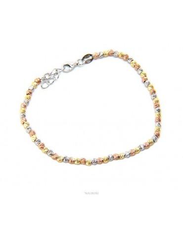 NALBORI Bracciale da donna in argento 925 con palline 3mm diamantate polso da 17 a 20 cm