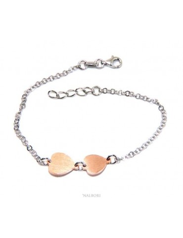 NALBORI® Women's Silver 925 Bracelet with small and large pink hearts 17-19.50