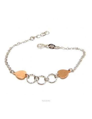 Bracciale Argento 925 donna NALBORI® con cuori rosa e cerchietti 16 -19