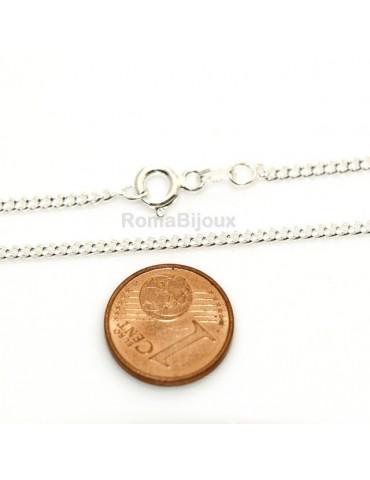 Girocollo Grumetta Diamantata catenina in ARGENTO 925 chiaro da 2,0 mm x 50 cm per uomo o donna gancio tondo