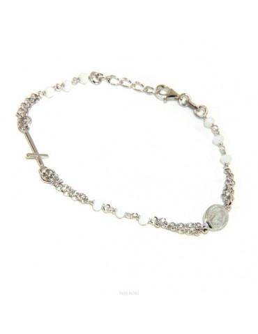 Bracciale rosario uomo donna Argento 925 madonna miracolosa , croce piccola e cristallo bianco . Mis. 16,50 - 19,00