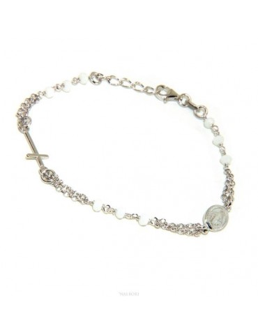 Rosary bracelet man woman Silver 925 miraculous madonna, small cross and white crystal. Mis. 16.50 - 19.00