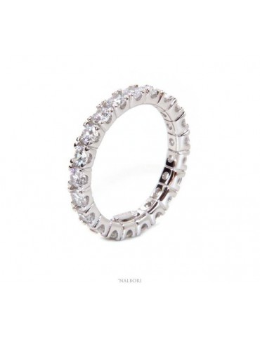 NALBORI 925 silver Rhodium plated, eternity infinity faith all round white zircons brilliant 3 mm for men or women
