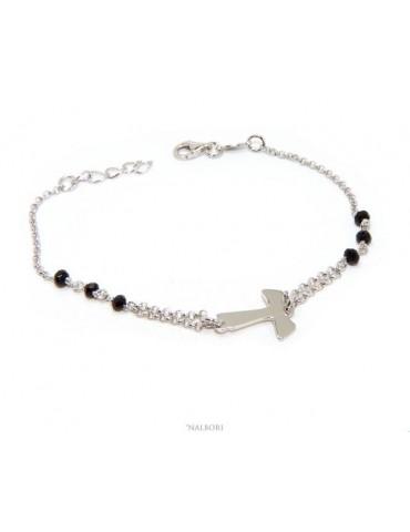 NALBORI Bracciale rosario Argento 925 con croce TAU e cristallo nero 17,5-20 cm