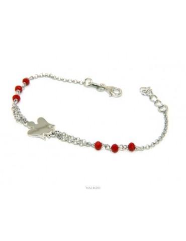 NALBORI Bracciale rosario Argento 925 con angelo custode piccolo e cristallo rosso o nero