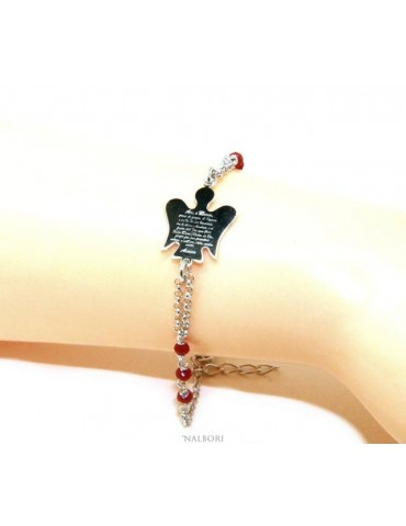 NALBORI Rosary bracelet Silver 925 guardian angel prayer ave maria crystal red or black