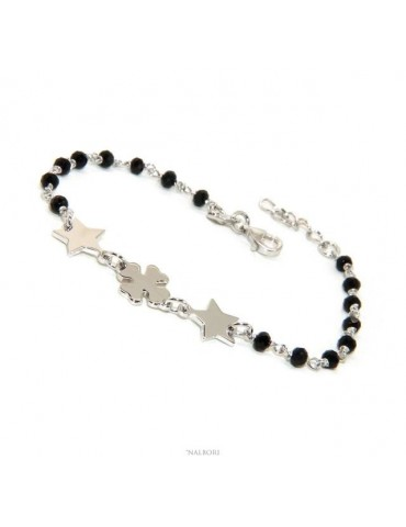 NALBORI Woman bracelet Silver 925 Marseillaise black four-leaf clover and stars success luck