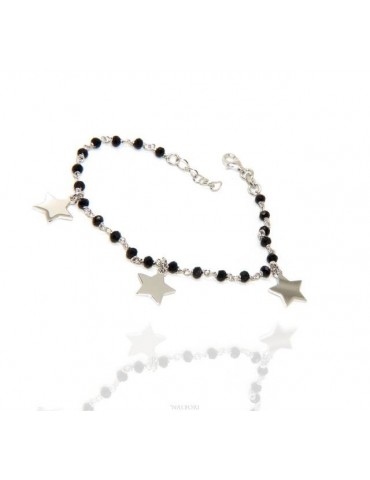 NALBORI Woman bracelet 925 sterling silver black with pendants of stars