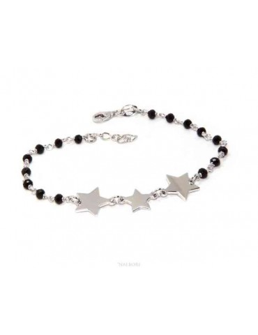 NALBORI Woman bracelet 925 Sterling silver black with 3 stars