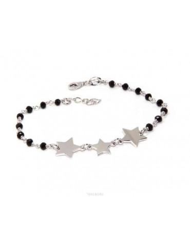 NALBORI Woman bracelet 925 Sterling silver black with 3 stars