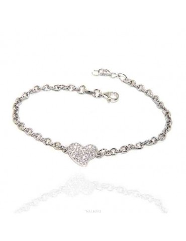 NALBORI Bracelet Silver 925 woman girl charm heart and zircon