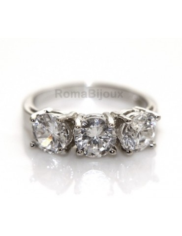 925 Rhodium: Trilogy with brilliant cut cubic zirconia 0.6
