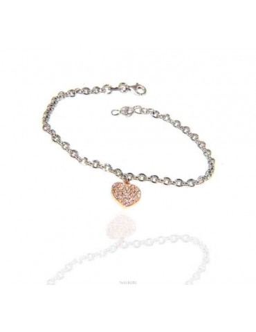 NALBORI Bracelet Silver 925 woman girl heart pendant and zircons rose gold bathroom