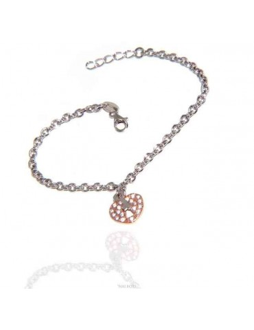 NALBORI Bracelet Silver 925 woman girl heart pendant lock and zircons key in rose gold