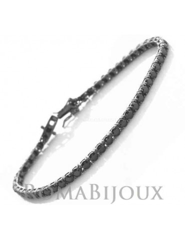 Silver 925: Tennis Bracelet With black zircons from 3 mm claws 16, 18 or 21 cm - black ruthenium