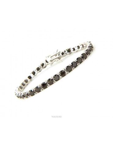 NALBORI 925 silver tennis bracelet with 4 mm prong black zircons + sizes