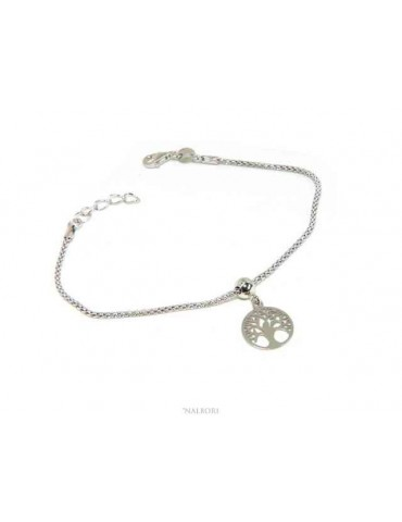NALBORI Bracelet silver 925 woman girl chain poocorn and pendant tree of life