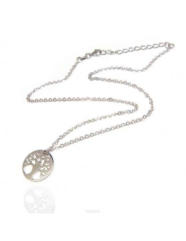 NALBORI necklace 925 sterling silver rolo 'diamond necklace with medal tree of life pendant