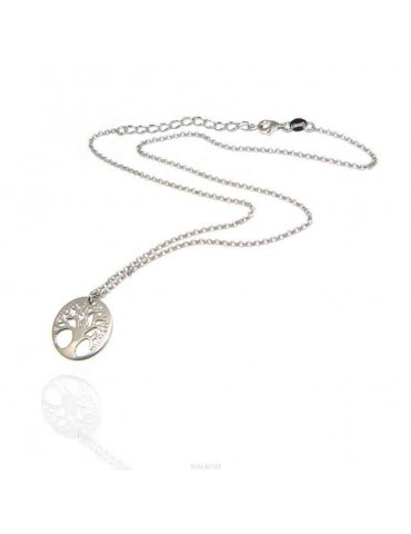 NALBORI necklace 925 sterling silver rolo 'necklace with medal tree of life pendant