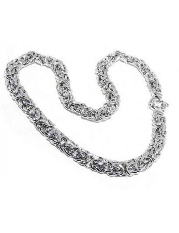 N544 collana donna collier argento 925 catena bizantina da 12 mm