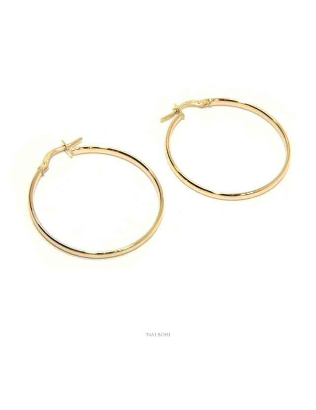 GOLD 375 / oo 9kt: Women's earrings circles smooth rings 3 cm made in Italy