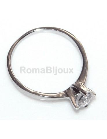 925 Rhodium: Solitaire with zircon 5mm brilliant cut