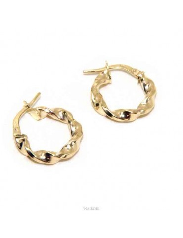 NALBORI GOLD 375 9kt twisted 15 mm women's hoop earrings in italy