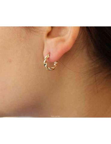 NALBORI GOLD 375 9kt twisted 15 mm women's hoop earrings in italy