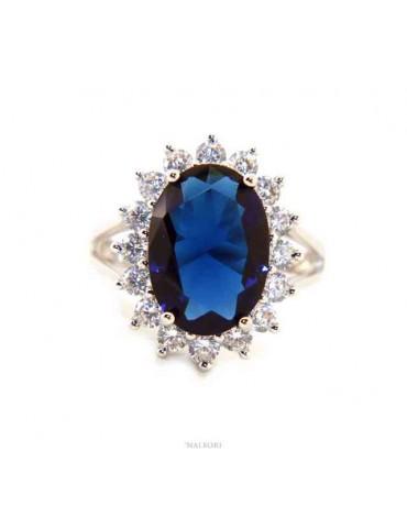NALBORI per Lei, anello argento 925 da donna con brillante ovale blu zaffiro e giro di pietre