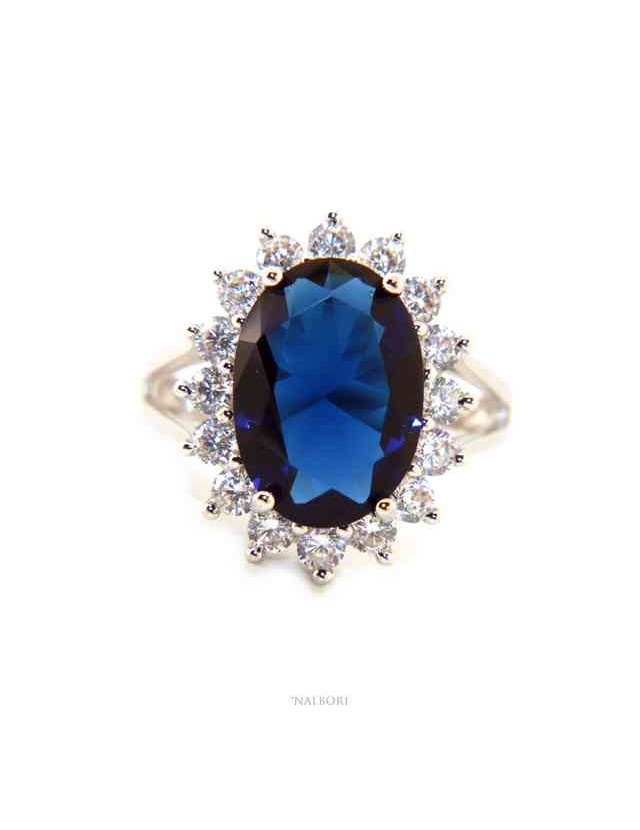 NALBORI for her, women's 925 silver ring with brilliant sapphire blue oval and round of stones