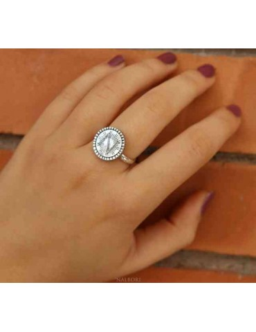 Ring Silver 925 for man or woman adjustable shield with monogram