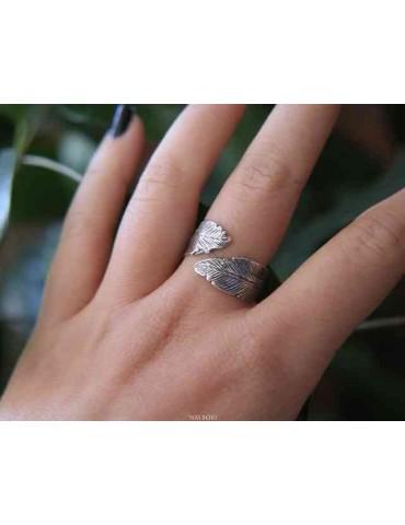 NALBORI® anello contrariè regolabile argento 925 con foglie brunite