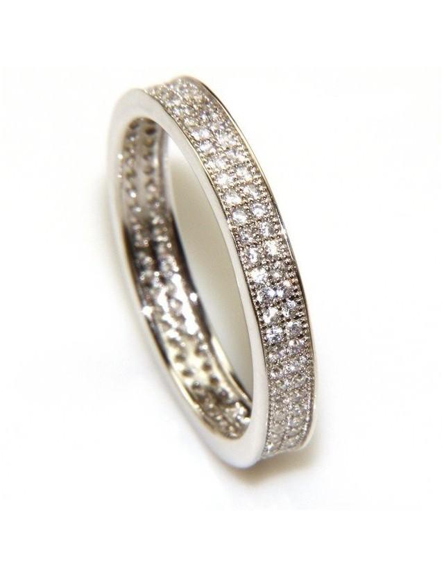 Argento 925 Rodiato : Eternity fedina a corona tutto giro con 2 file zirconi da 1,0 mm taglio brillante