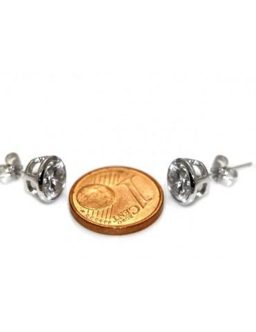 Argento 925 : orecchini donna uomo micro cipollina 7 mm zirconi bianchi