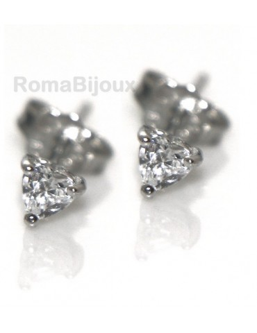 genuine silver 925: earrings male micro jaws heart 3mm cubic zirconia