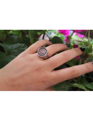 NALBORI Ring Silver 925 for man or woman diamond shield Monogram