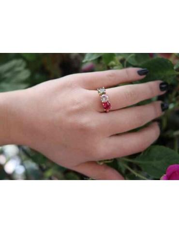 NALBORI anello trilogy per donna zircone verde bianco rosso argento 925 bagno oro rosa