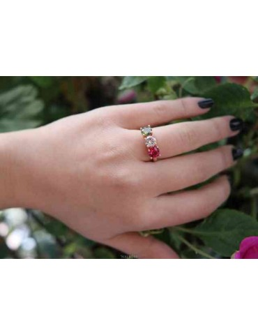 NALBORI ring trilogy zircon red green white for woman in 925 silver rose gold bath