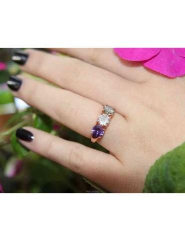 NALBORI anello trilogy per donna zircone verde bianco viola argento 925 bagno oro rosa