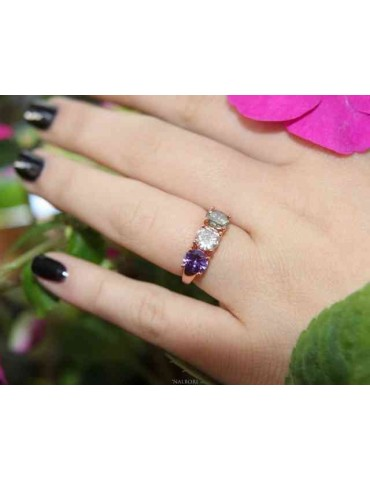 NALBORI ring trilogy zircon purple green white for woman in 925 silver rose gold bath