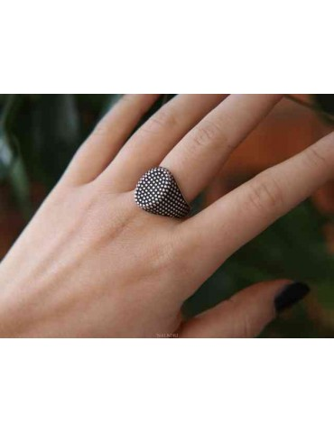 NALBORI 925 silver ring for men with an oval chevalier shield