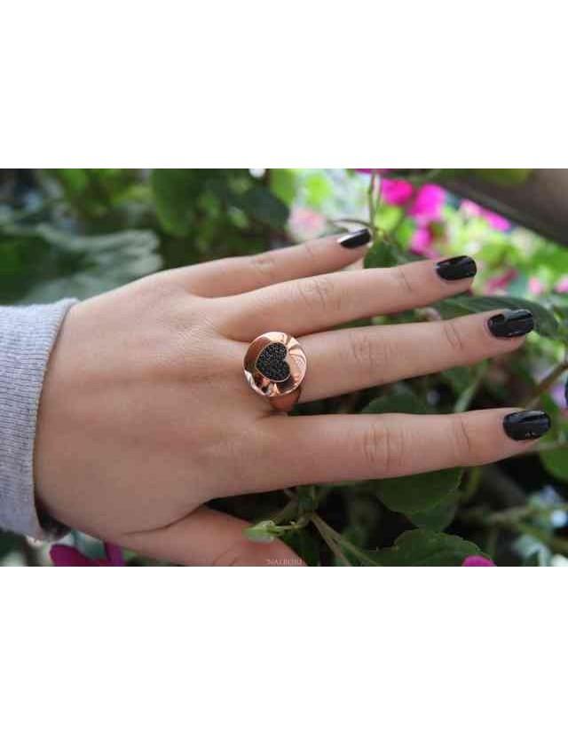 NALBORI ring shield heart seal for woman in silver 925 pink zircons black
